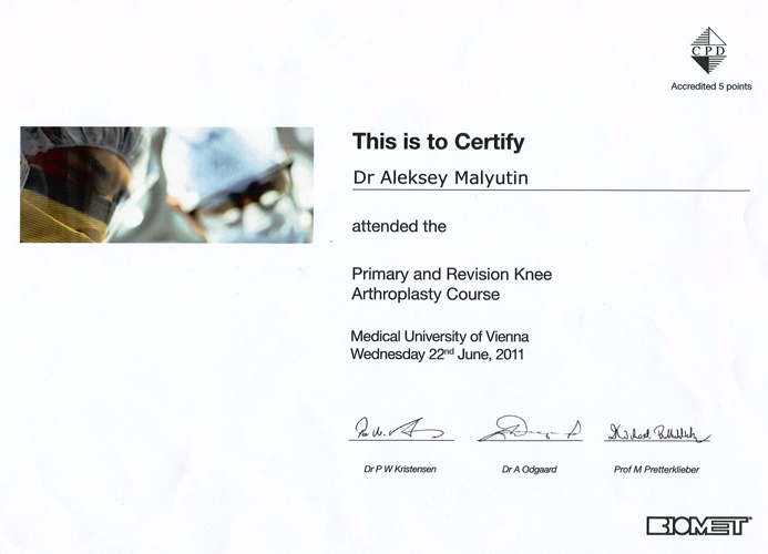 Primary and Revision Knee Arthoplasty Course